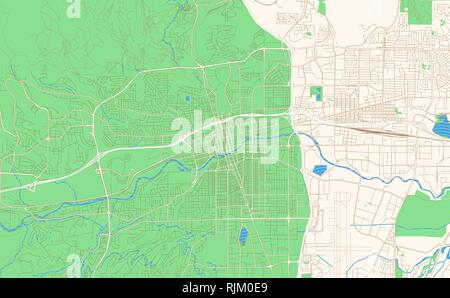 Reno Nevada printable map excerpt. This vector streetmap of downtown Reno is made for infographic and print projects. - Stock Photo