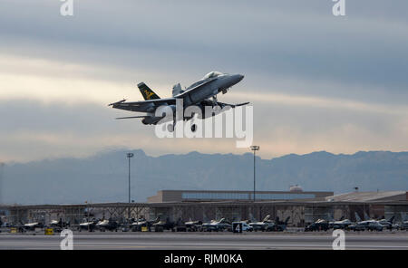 A Royal Australian Air Force (RAAF) FA-18A Hornet participates in Red Flag 19-1 at Nellis Air Force Base, Nevada, Jan. 29, 2019. Red Flag is a combat training exercise conducted on the Nevada Test and Training Range involving the air forces of the United States and its allies. (U.S. Air Force photo by Airman 1st Class Bailee A. Darbasie) - Stock Photo