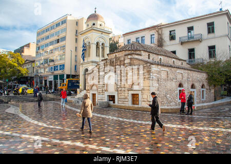 Early morning after a rain storm in Monastiraki Square, Athens, Greece - Stock Photo