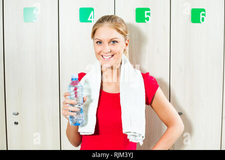 Happy girl is ready for fitness training - Stock Photo
