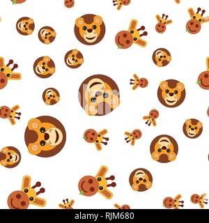 Seamless pattern of the head of a lion and a giraffe. Vector illustration in cartoon style. - Stock Photo