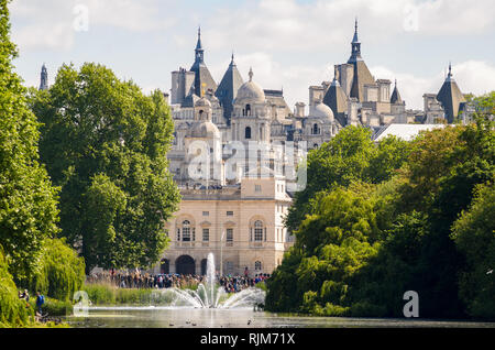 View of St James's Park and The Household Cavalry Museum in London, England. - Stock Photo