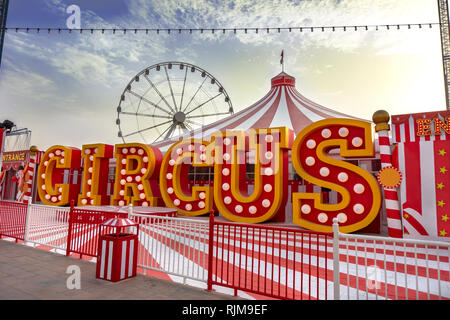Dubai,UAE / 11. 06. 2018 : circus enterance in the global village - Stock Photo