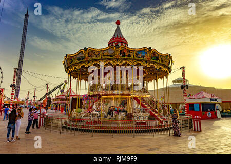 Dubai,UAE / 11. 06. : 2018 colorful decorated carousel in the global village - Stock Photo
