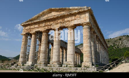 Segesta, Province of Trapani, Sicily. Segesta is one of the best preserved and most beautiful of the Greek archaeological sites in the Mediterranean. - Stock Photo