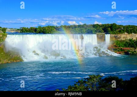 View of the American side of Niagara Falls with beautiful rainbow - Stock Photo
