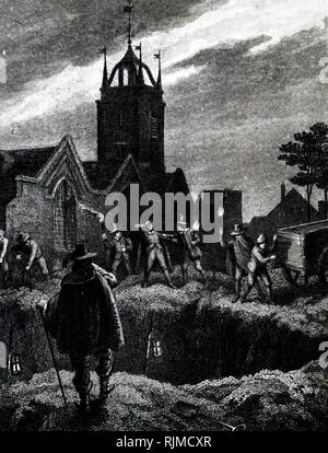 Illustration showing the PLAGUE OF 1665, a cart carrying bodies, arriving at the great plague pit in Aldgate, London. - Stock Photo