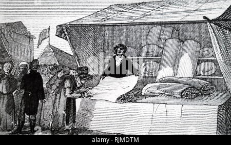 Illustration showing Flannel, woven in surrounding area, being sold in Welshpool market. 1823. - Stock Photo