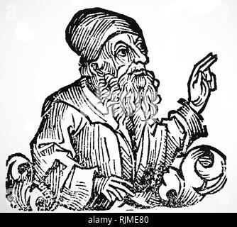 Illustration showing Jan Huss From Hartmann Schedel 'Liber 0hronicarum mundi (Nuremberg Chronicle)', Nuremberg, 1493. Jan Hus ( c. 1369 - 6 July 1415), Czech theologian, philosopher, master, dean, and rector - Stock Photo
