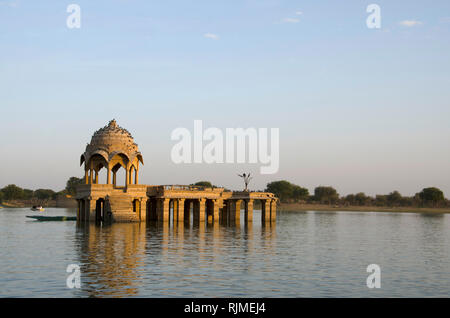 Chhatri in the middle of Gadisar Lake, Jaisalmer, Rajasthan, India - Stock Photo
