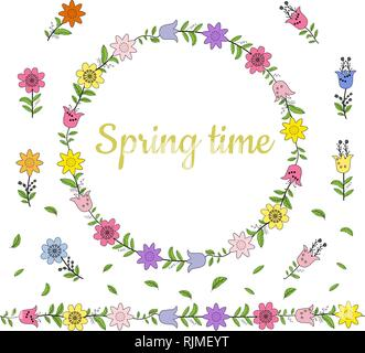 Colorful wreath made from different spring flowers and leaves. Endless horizontal brush. Seamless horizontal border. Vector hand drawing illustration. - Stock Photo