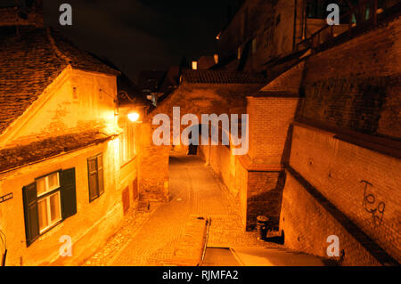 The Stairs Passage in Sibiu, connects the Upper Town with the Lower Town - Stock Photo