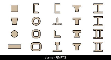 Building beams. Vector illustration. Design and architecture. Set of icons - Stock Photo
