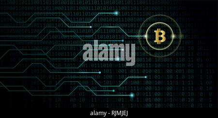 golden bitcoin crypto currency with blue binary code background vector illustration EPS10 - Stock Photo