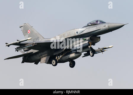 A Lockheed Martin F-16D fighter jet of the Polish Air Force. - Stock Photo