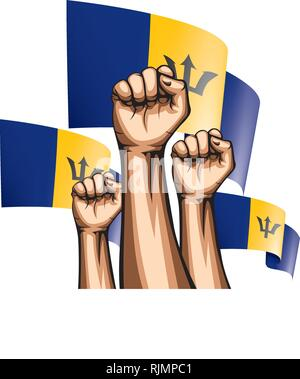 Barbados flag and hand on white background. Vector illustration - Stock Photo