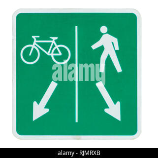Sign of bicycle and pedestrian shared route isolated on white. - Stock Photo