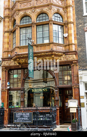 London, England, United Kingdom, Great Britain, West End, Mayfair, Maddox Street, Browns Brasserie & Bar, restaurant restaurants food dine dining eati - Stock Photo