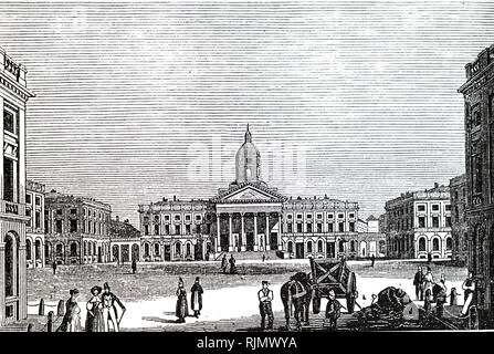 An engraving depicting the Royal palace of Brussels, Belgium 1835 - Stock Photo