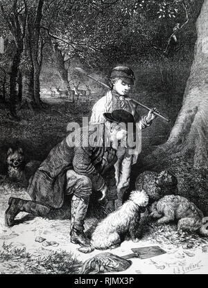 Truffle hunting, using dogs to smell out truffles. In season, truffles from English beechwood, particularly those in Sussex, Hampshire, Wiltshire, Dorset and Kent. 1869. - Stock Photo