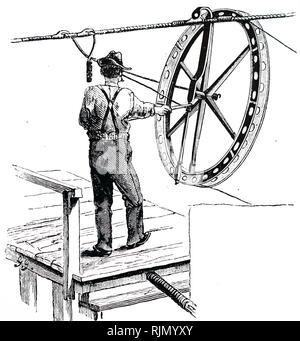 Illustration showing mechanism inside the Brooklyn Suspension Bridge, New York designed and built by John Augustus Roebling (1806 -1869) and his son, Washington Augustus Roebling (1837־ 1926): Traveller wheel of wood and iron attached to carder-rope, and over which wire to be laid was passed. - Stock Photo