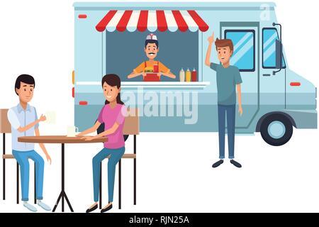 fast food truck cartoon - Stock Photo