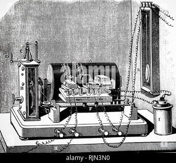 Illustration showing Electric CHRONOGRAPH. The record was traced on a drum of blackened paper. 1876 - Stock Photo