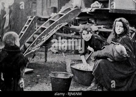 Gypsy encampment in Battersea, London 1905 - Stock Photo