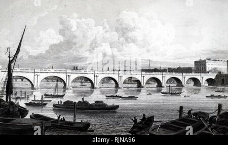An engraving depicting Waterloo Bridge, built by John Rennie. Dated 19th century - Stock Photo