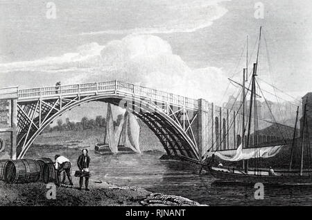 An engraving depicting the bridge at Stourport, Worcestershire. Stourport grew from just an alehouse to a thriving port due to its position of the junction of the Stour and the Severn and the entrance of the Staffordshire and Worcester canal. On the right are Severn trows. Dated 19th century - Stock Photo