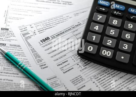 filing u.s. individual income tax return form 1040 - Stock Photo