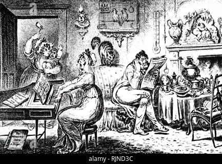 A cartoon commenting on the marital affairs of the Prince Regent (King George IV) and his wife Caroline of Brunswick. Dated 19th century - Stock Photo