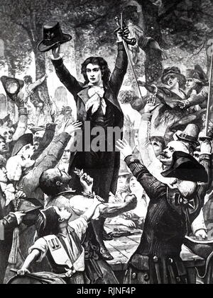 An engraving depicting Camille Desmoulins (1760-1794) at the Palais Royal. - Stock Photo