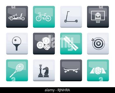 Sports equipment and objects icons over color background - vector icon set 2 - Stock Photo