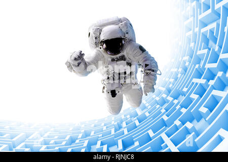 astronaut over huge endless blue maze structure (3d illustration, elements of this image are furnished by NASA)