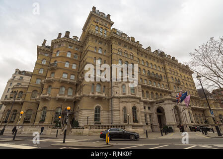 The Langham Hotel on Portland Place in Marylebone, near Oxford Circus, Regent Street and Bond Street. London, England. - Stock Photo