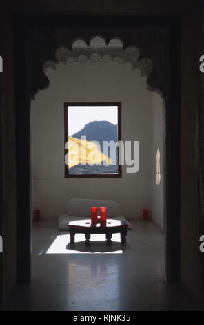Caption: Udaipur, Rajasthan, India - Apr 2003. An attic room inside Devi Garh, an 18th century restored palace in the village of Delwara outside of Ud - Stock Photo