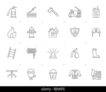 Line firefighter and fire brigade icons - vector icon set - Stock Photo
