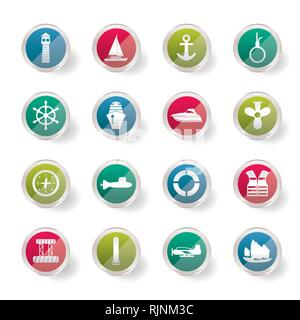 Simple Marine, Sailing and Sea Icons over colored background - Vector Icon Set - Stock Photo