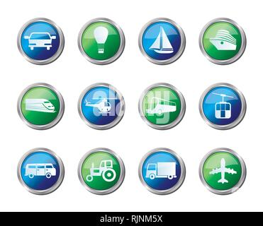Transportation and travel icons over colored background - vector icon set - Stock Photo