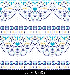 Mexican folk art vector seamless pattern with flowers and geometric shapes, repetitive textile design - Stock Photo
