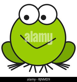 Frog in cartoon style. On white background,  illustration - Stock Photo