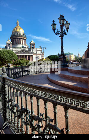 St. Isaacs Cathedral square in the morning. St Petersburg. Russia - Stock Photo
