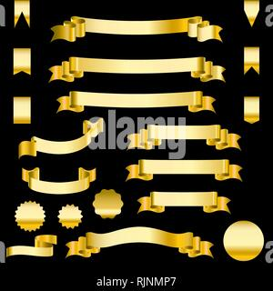 Set of golden ribbons and labels. Heraldic banners vector illustration. - Stock Photo