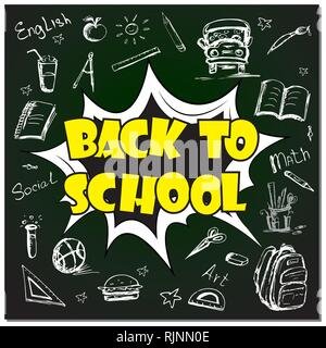 Comic pop art text - back to school background with school objects and icons,cartoon vector illustration - Stock Photo