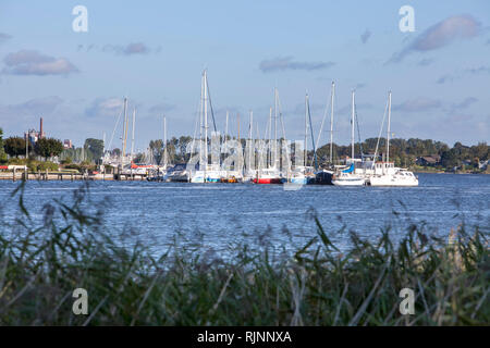 View over the Schlei from Sundsacker to Arnis, Schleswig-Holstein, Germany, Europe - Stock Photo
