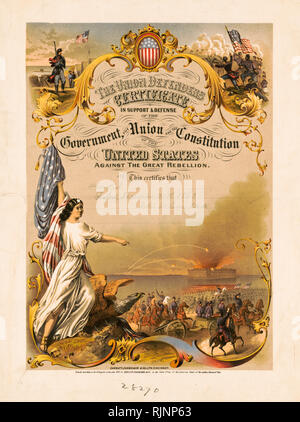 American Civil War art, Certificate of service, The Union Defenders Certificate, Max Rosenthal 1865, print - Stock Photo