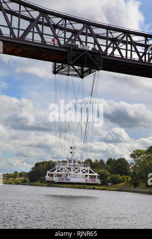 Rendsburg High Bridge with suspension ferry, Kiel Canal, Rendsburg, Schleswig-Holstein, Germany - Stock Photo