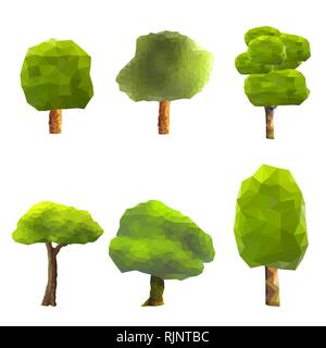 Set of trees low poly style. Geometric poligonal illustration. Vector design element. - Stock Photo