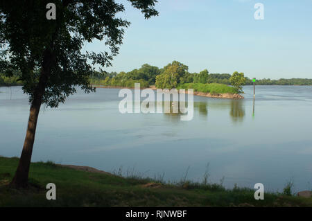 Arkansas River, looking at Oklahoma shore from Fort Smith National Historic Site, Arkansas. Digital photograph - Stock Photo